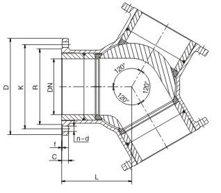 Y-type 120 degree pneumatic three-way ball valve-POV VALVE