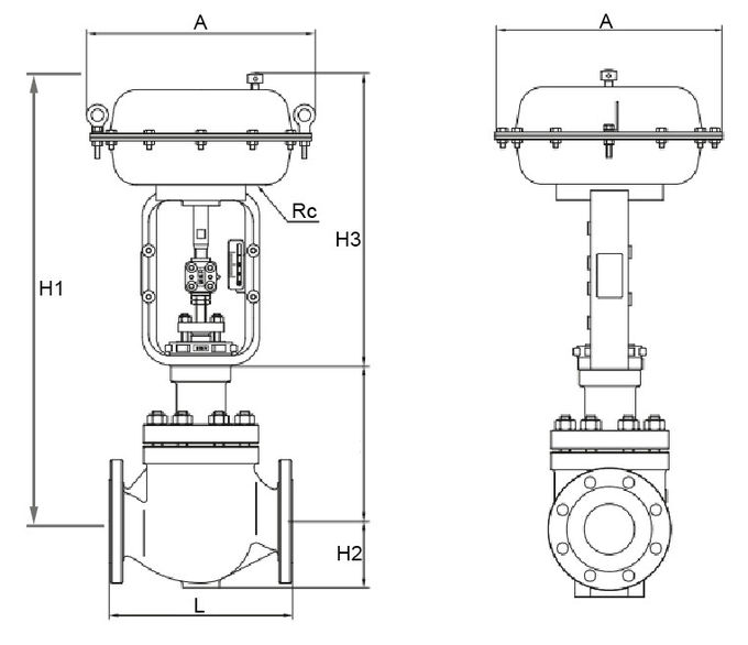 Top Guided Single Seated Control Valve , Pneumatic