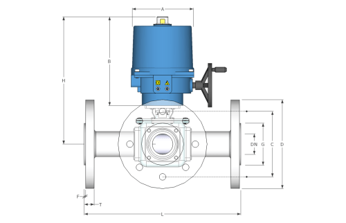 small resolution of electric flanged 3 way stainless steel ball valve