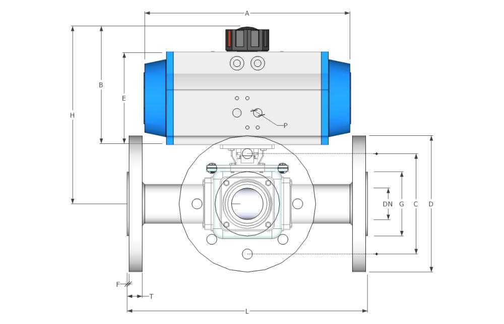 medium resolution of 3 way flanged spring return stainless steel ball valve