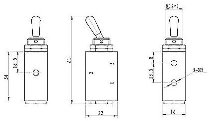 3 Way 2 Position Toggle Valve