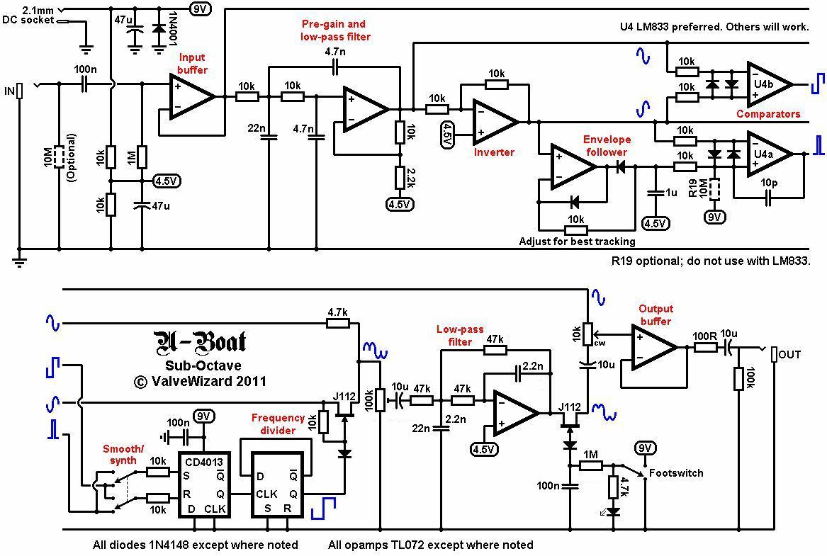 hight resolution of looking at the u boat circuit the first opamp simply buffers the incoming guitar signal from here it splits into two paths one goes directly to the