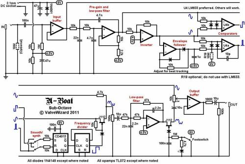 small resolution of looking at the u boat circuit the first opamp simply buffers the incoming guitar signal from here it splits into two paths one goes directly to the