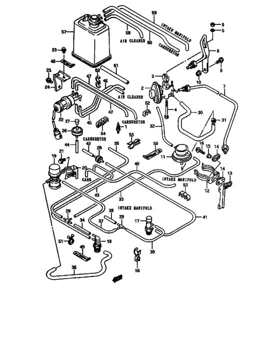 Planos mangueras de vacío carburador súper carry 1997