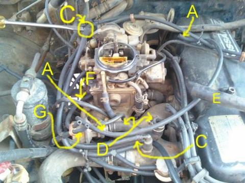 82 Toyota Pickup Wiring Diagram Como Se Conectan Las Mangueras Del Carburador De Motor Z24