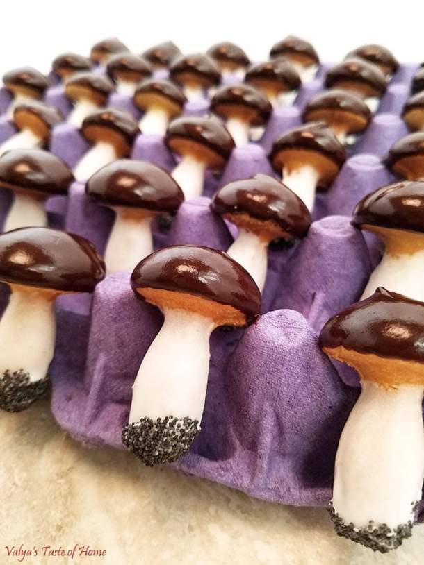 baked mushrooms cookies, beautiful dessert, butter, Christmas cookies, cocoa chocolate chips ganache, decor cookies, decor dessert, egg whites glaze, fall baking, home eggs, Mushroom Cookies Recipe, organic flour, organic sugar, poppy seeds