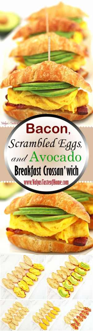 avocado, bacon, Breakfast, crossan'wich with cheese, crossandwich, easy breakfast, eggs, food, kids approved breakfast, kids love it, make ahead breakfast, recipe, Scrambled Eggs and Avocado, so good, The Best Breakfast Crossan'wich with Bacon