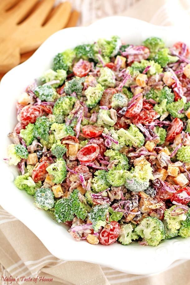 almond slivers, cheddar cheese, cranberries, Creamy Cheddar Broccoli and Tomato Salad Recipe, Greek yogurt, Greek yogurt ranch dressing, healthy, Homemade Ranch Dressing, natural bacon, red cabbage, vegetarian, winter vegetable salad