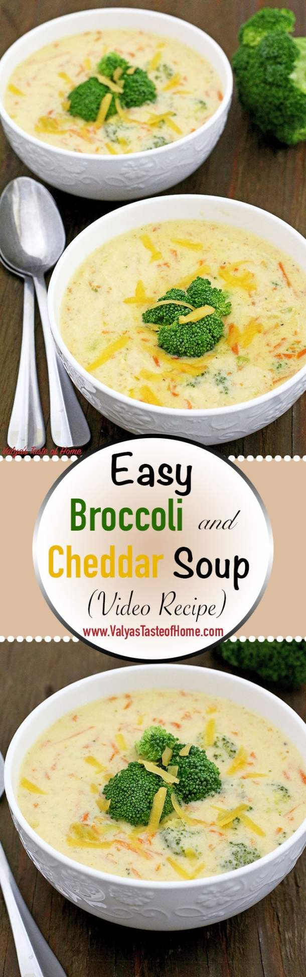 What is there not to like about this creamy, full of flavor, loaded with vegetables, and easy to make a delicious bowl of Easy Broccoli and Cheddar Soup (Video Recipe). Literally, this soup can be made under 30 minutes!