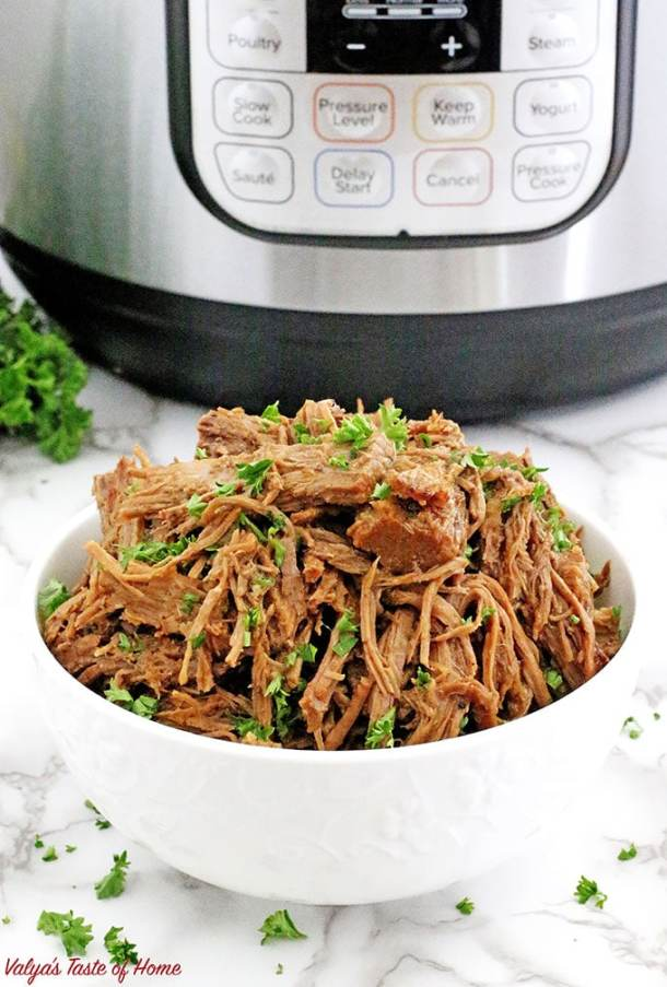This Instant Pot Roast Beef Recipe is truly a gem and easy to make! It's the same recipe that I like to make in the slow cooker, which cooks for five hours. Already a time saver from the traditional toilsome oven version, this variation saves you oodles more time by being dinner-ready within one hour in the incredible Instant Pot.