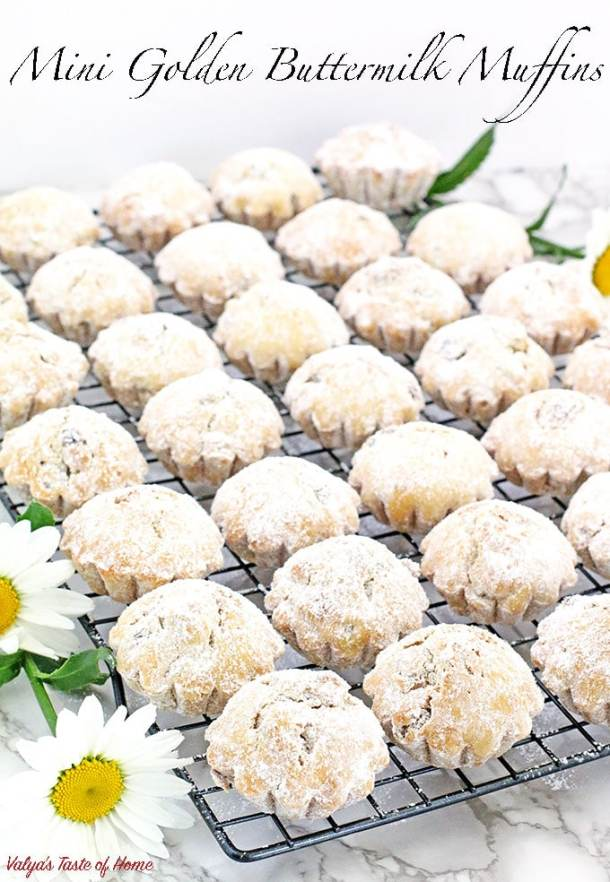 Today I'm sharing a very dear recipe that I started making when I was still living in Ukraine and I was only about 10 years old. It is still our family favorite tea or coffee muffins. These Mini Golden Buttermilk Muffins become a quick favorite to those who try them as well.