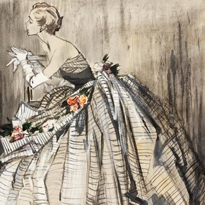 2) Jean Demarchy, fashion illustration, London, 1953. Museum no. E.686-1997