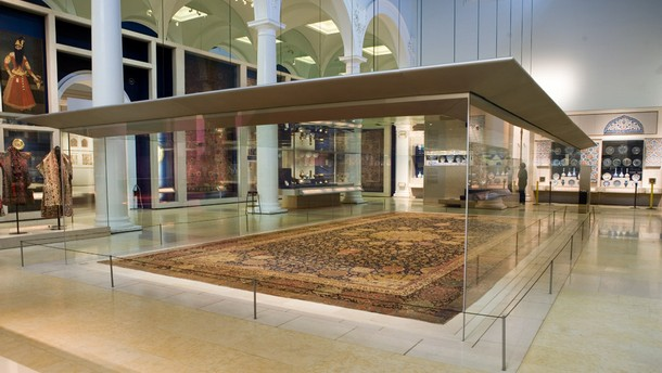 The Ardabil Carpet on display in the Jameel Gallery, V&A