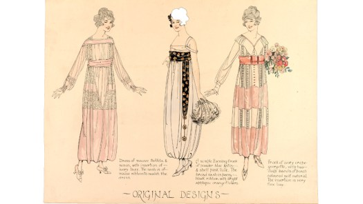 three 'Original Designs' 1918 - 1919. The designer's own descriptions of the dresses, written next to them are: 'Left: Dress of mauve taffeta and ninon, with insertion of ivory lace. The sash is of mauve ribbon to match the dress. Centre: A simple evening frock of powder blue satin & shell pink tulle. The broad sash is pansy black ribbon with bright appliqué orange flowers. Right: Frock of ivory crepe georgette, with two deep bands of peach coloured self material. The insertion is very fine lace.'