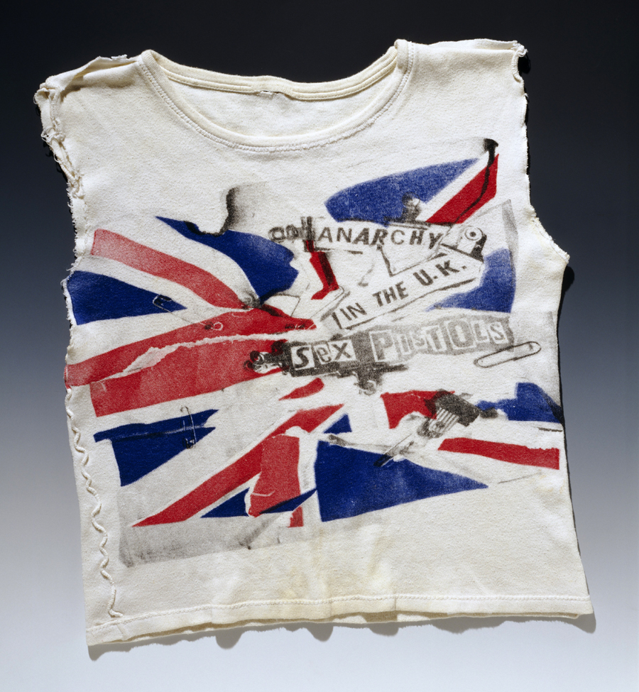 Sex Pistols T-shirt, designed by Vivienne Westwood and Jamie Reid, customised by Johnny Rotten, late 1970s. Museum no. S.794-1990