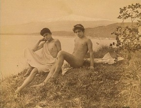 Wilhelm von Gloeden, 'Two Seated Sicilian Youths', about 1900. Museum no. 2815-1952