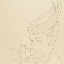Sigrid Hunt, pencil sketch, Britain, 1954. Museum no. E.687-1986