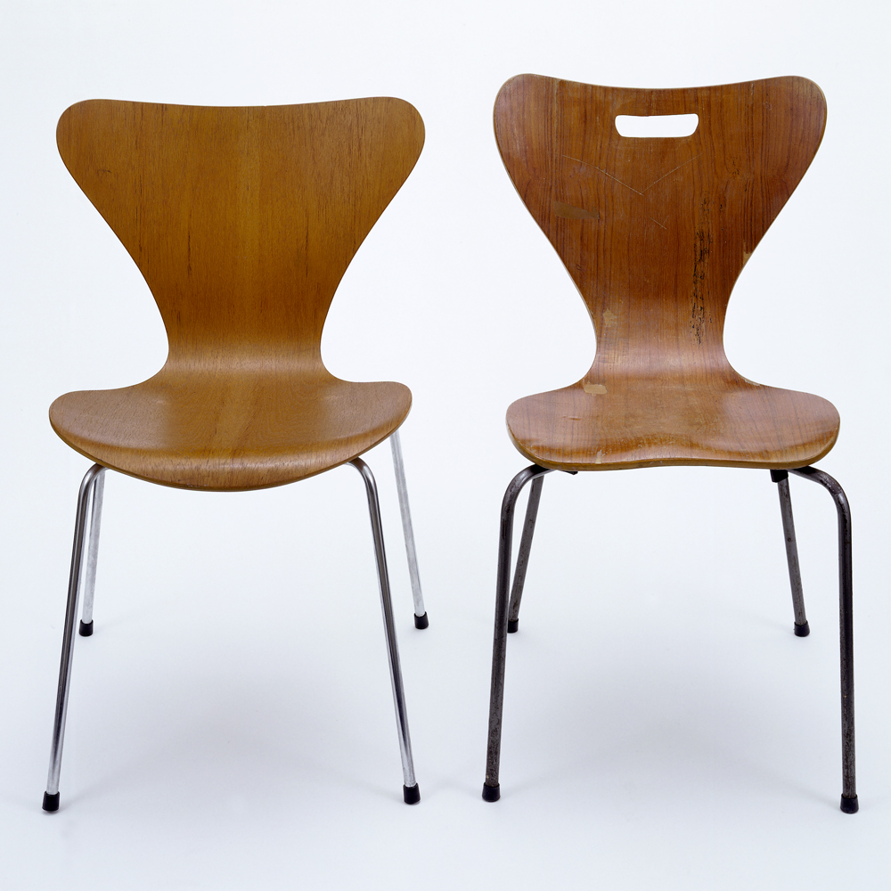 chair design model gold wedding chairs christine keeler photograph a modern icon victoria and albert museum left 3107 designed by arne jacobsen 1957 no circ 371 1970 right copy unknown designer possibly heal s london 1962