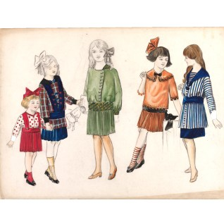 Madeleine Vermont (1897-1972), fashion design, London, 1913. Five designs for girls costume in pencil and colour wash. children's dress changed from the waist to the hip, and dresses and skirts also became shorter (above the knee). The central figure is wearing a green coloured day dress with a pleated skirt and an elaborate belt which matches her small collar and the sleeve cuff. Also shown are two coat designs. The second figure to the left is wearing a white and red chequer short coat with Alamo buttons whereas the further figure on the right is wearing a white and navy striped coat with sailor navy collar and matching cuffs. VandA Museum no. E.954-1977