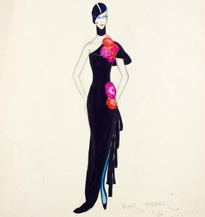 Victor Stiebel (1907-76), fashion design, London, 1928. The face of the model in this drawing, with the heavily emphasised eyes, follows the tradition established by silent-screen star Theda Bara, who popularised the word 'vamp' (a contraction of vampire, which she played in one of her films) to mean a predatory female, whose heavily khol-encircled eyes were her most memorable feature. VAM Museum no. S.545-1983