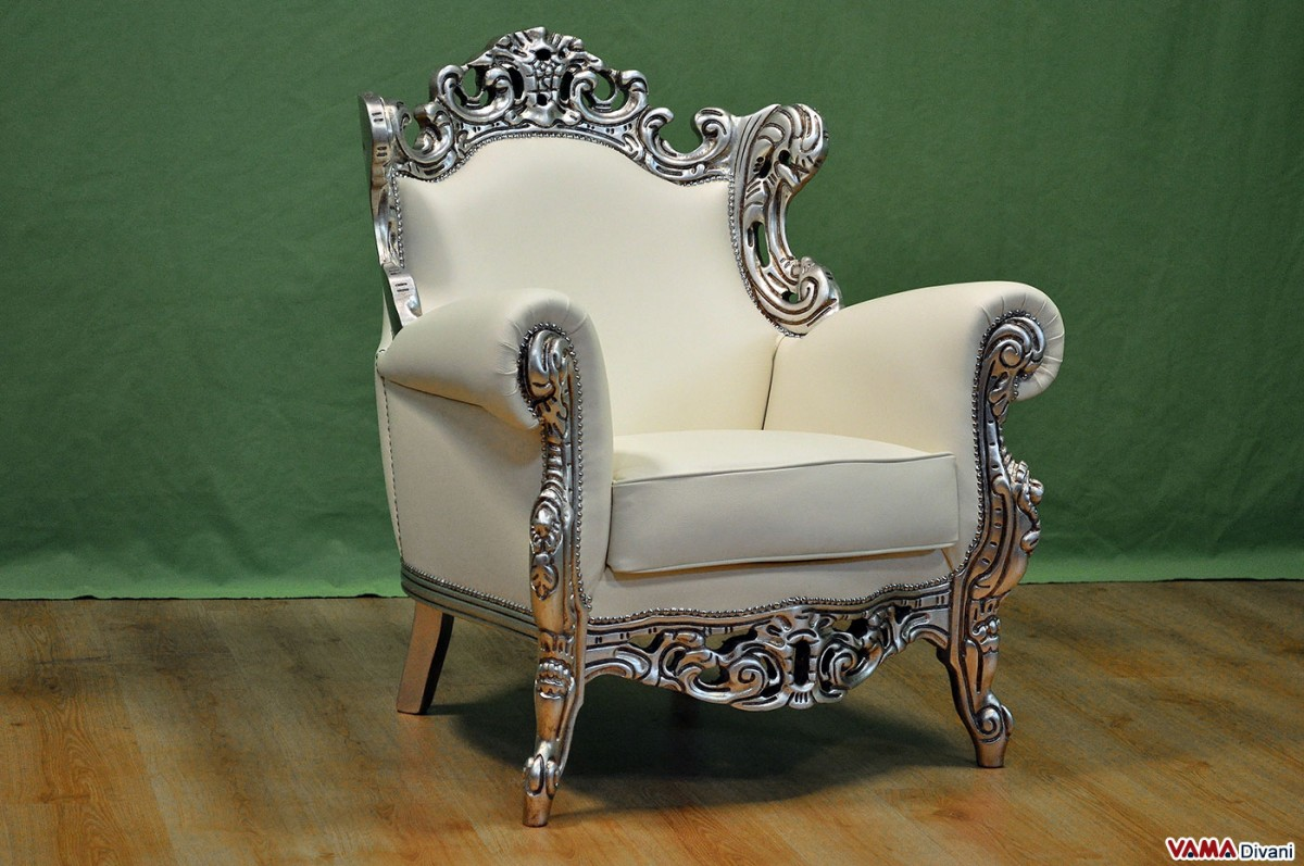 white leather chesterfield corner sofa pallet wood outdoor baroque armchair in with silver foil frame
