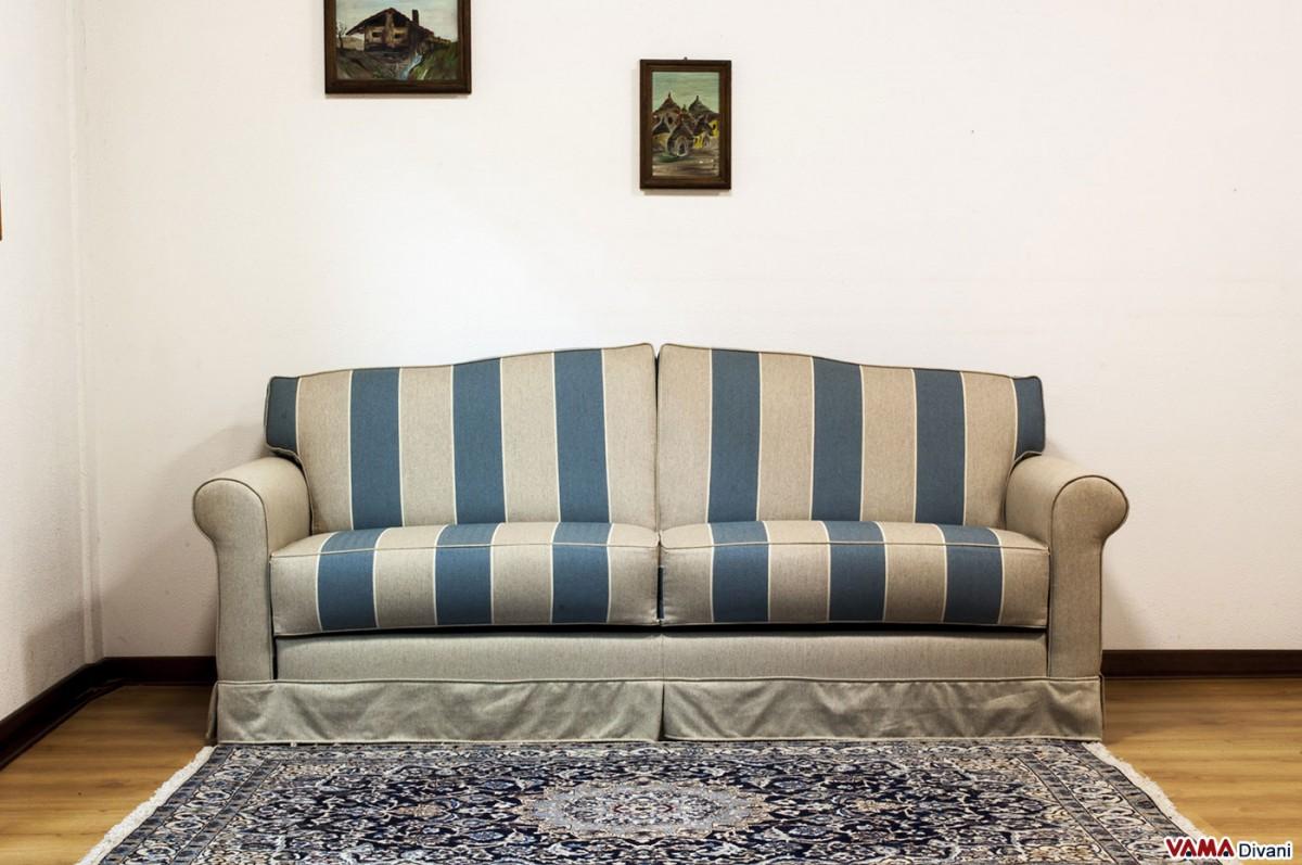 blue striped sofa uk paletten selber machen anleitung fabric white cottage