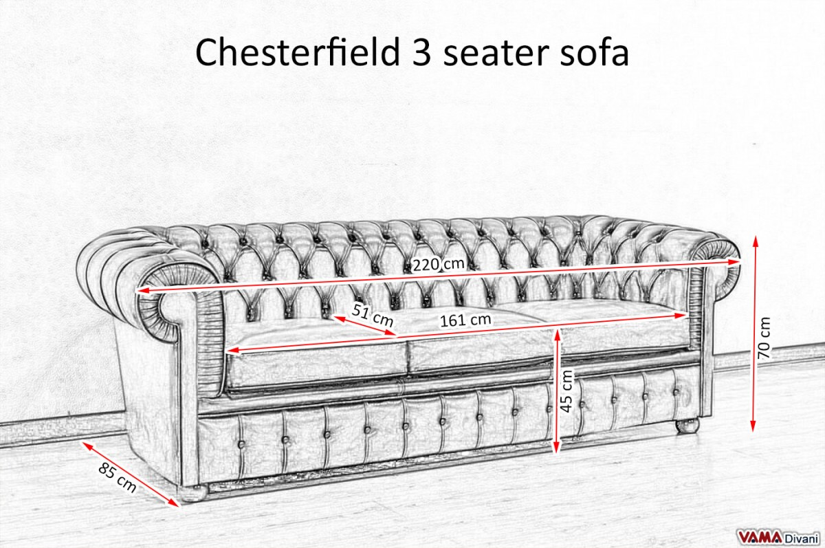 3 seater sofa standard length design 2017 chesterfield price and dimensions