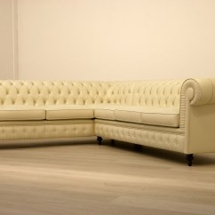 White Leather Chesterfield Corner Sofa Raleigh Knock Off Cream