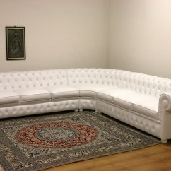 Grey Leather Chesterfield Sofa Dfs Restoration Rounded Corner Maze Rattan Winchester ...