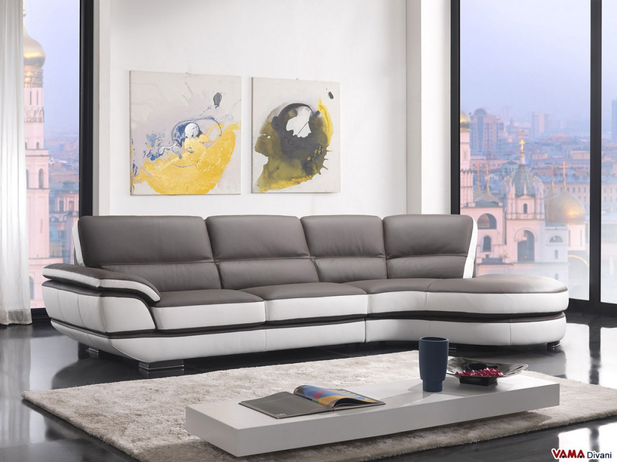 Contemporary leather sofa with a 60degree corner