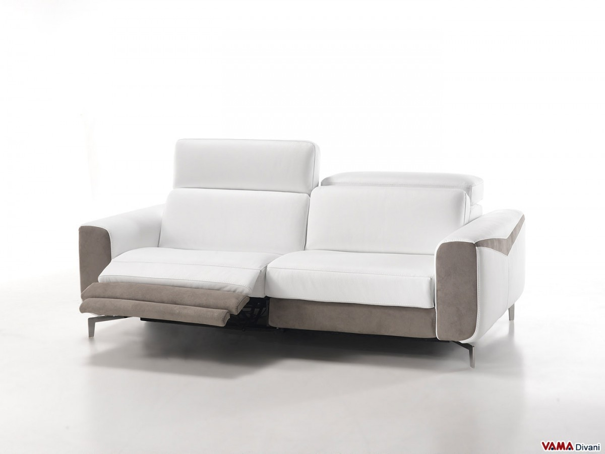 Leather sofa with electric recliner for your head and feet