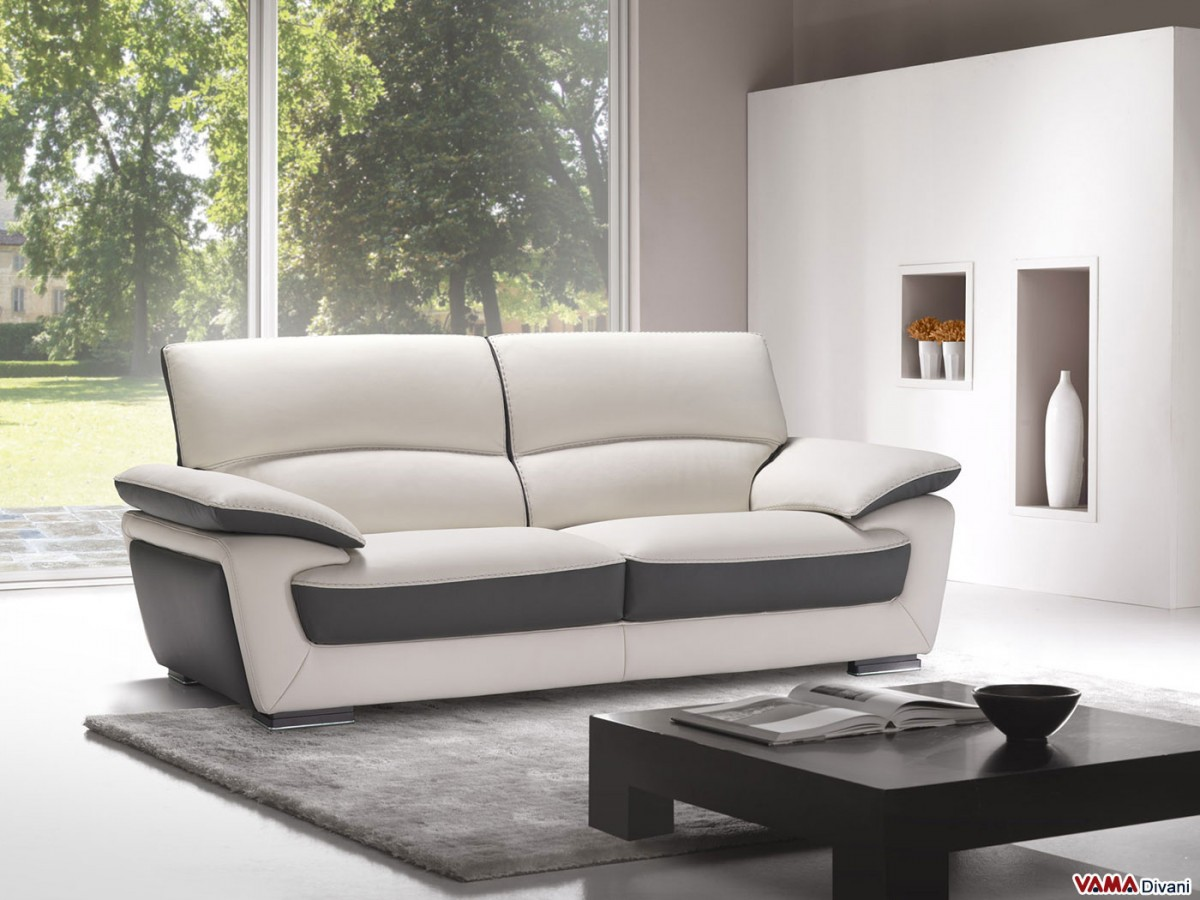 Leather sofa in Two Colours with High Back