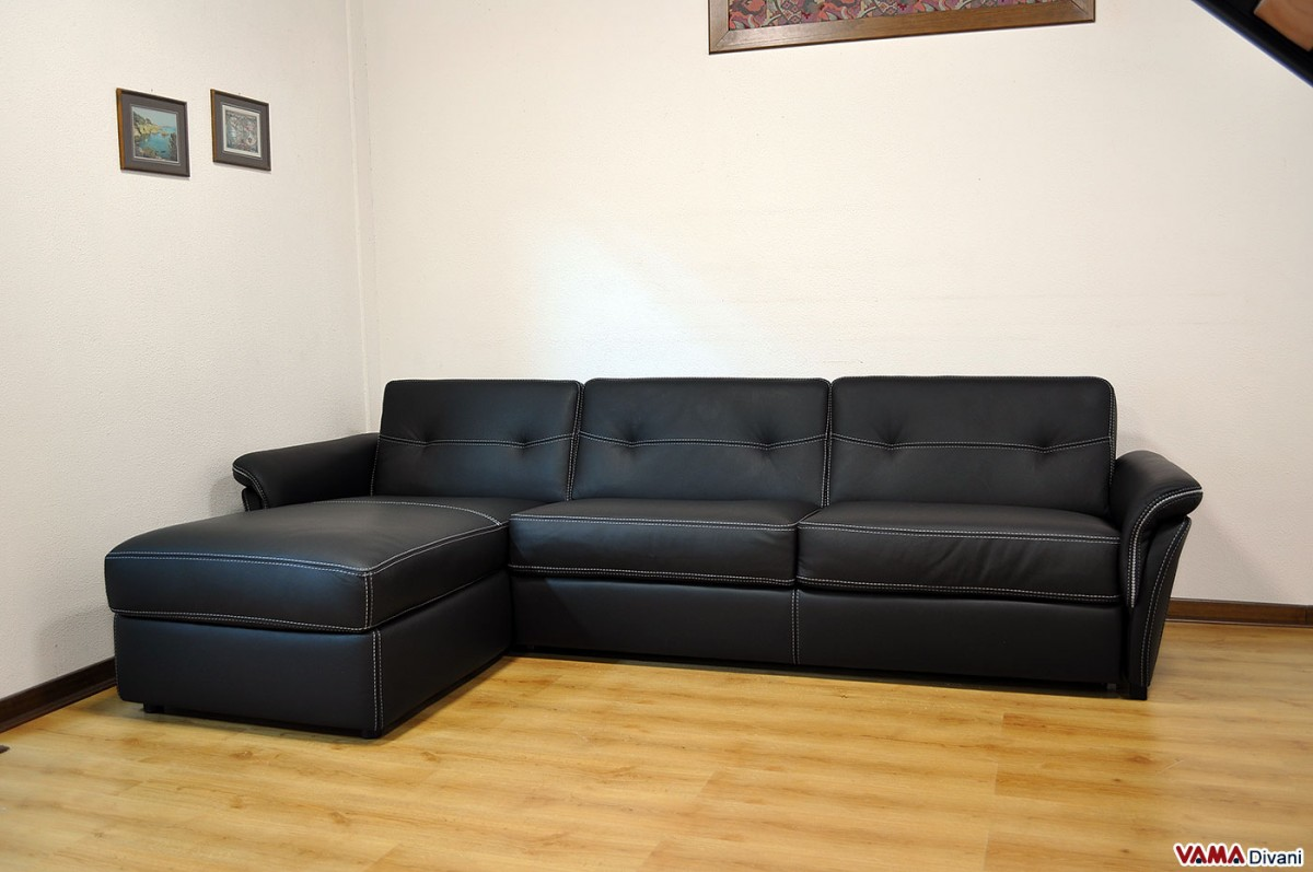 corner sofa bed chaise longue modern furniture in leather with storage