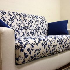 White And Blue Sofa How To Make Bed At Home Patterned Fabric Energywarden