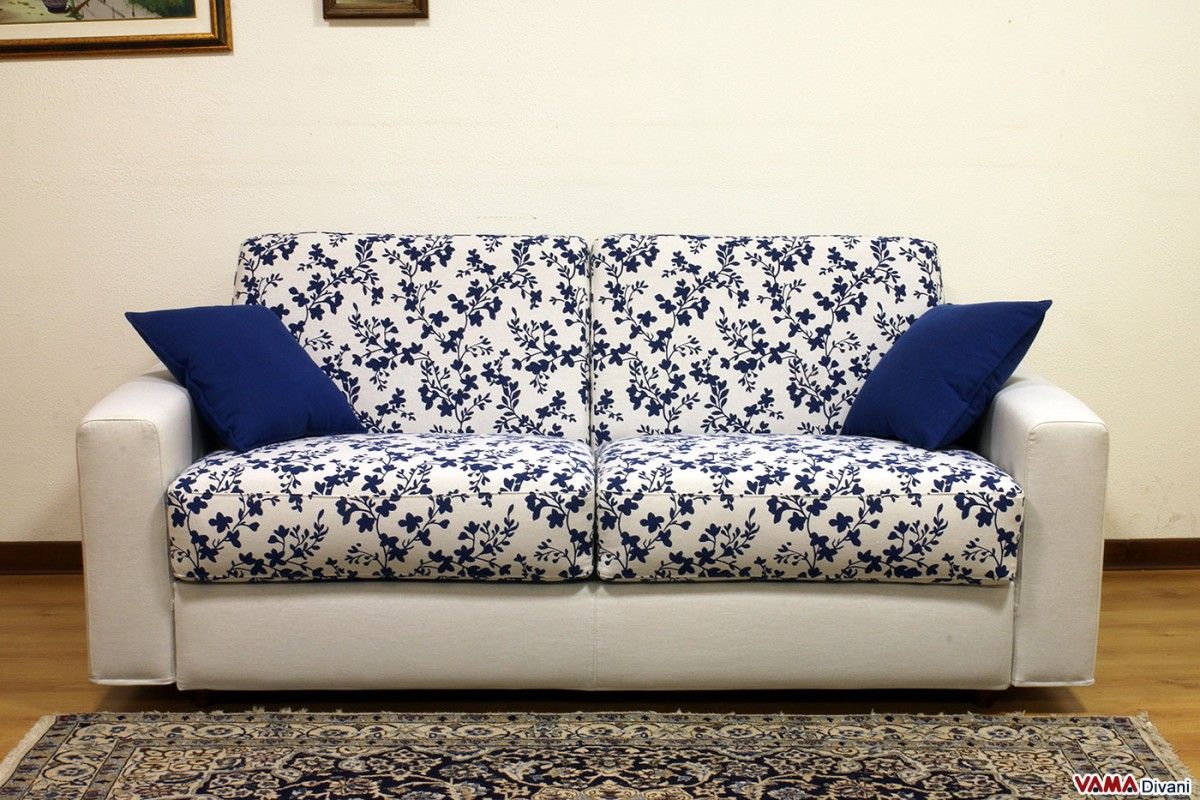 blue and white sofa fabric best stuffing for cushions squared double bed upholstered in microfibre