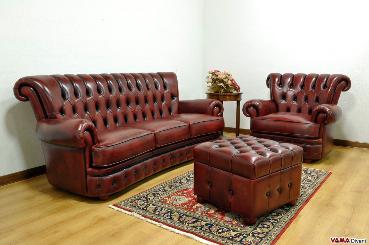leather red sofa craigslist san go buttoned in the chesterfield style