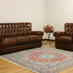 High Back Chesterfield Sofa Cloth Material Buttoned Leather In The Style