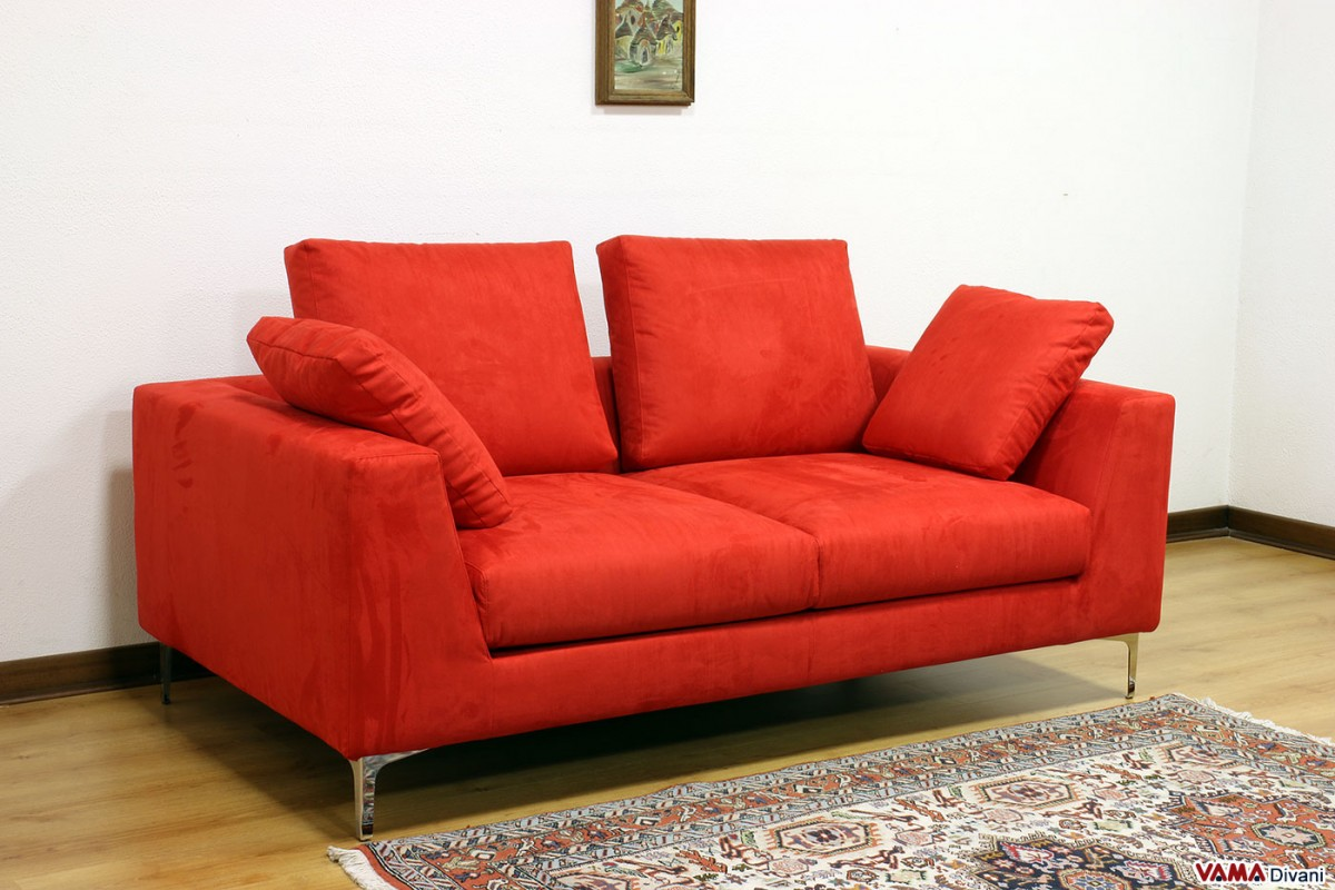 Contemporary squared and linear sofa with high feet