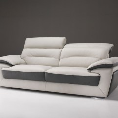 Chesterfield Sofa Leather White Mid Century Sofas Canada Contemporary In Two-tone With Reclining Headrest