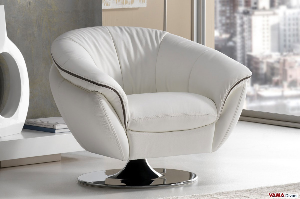 Contemporary Swivel Leather armchair with chrome steel base