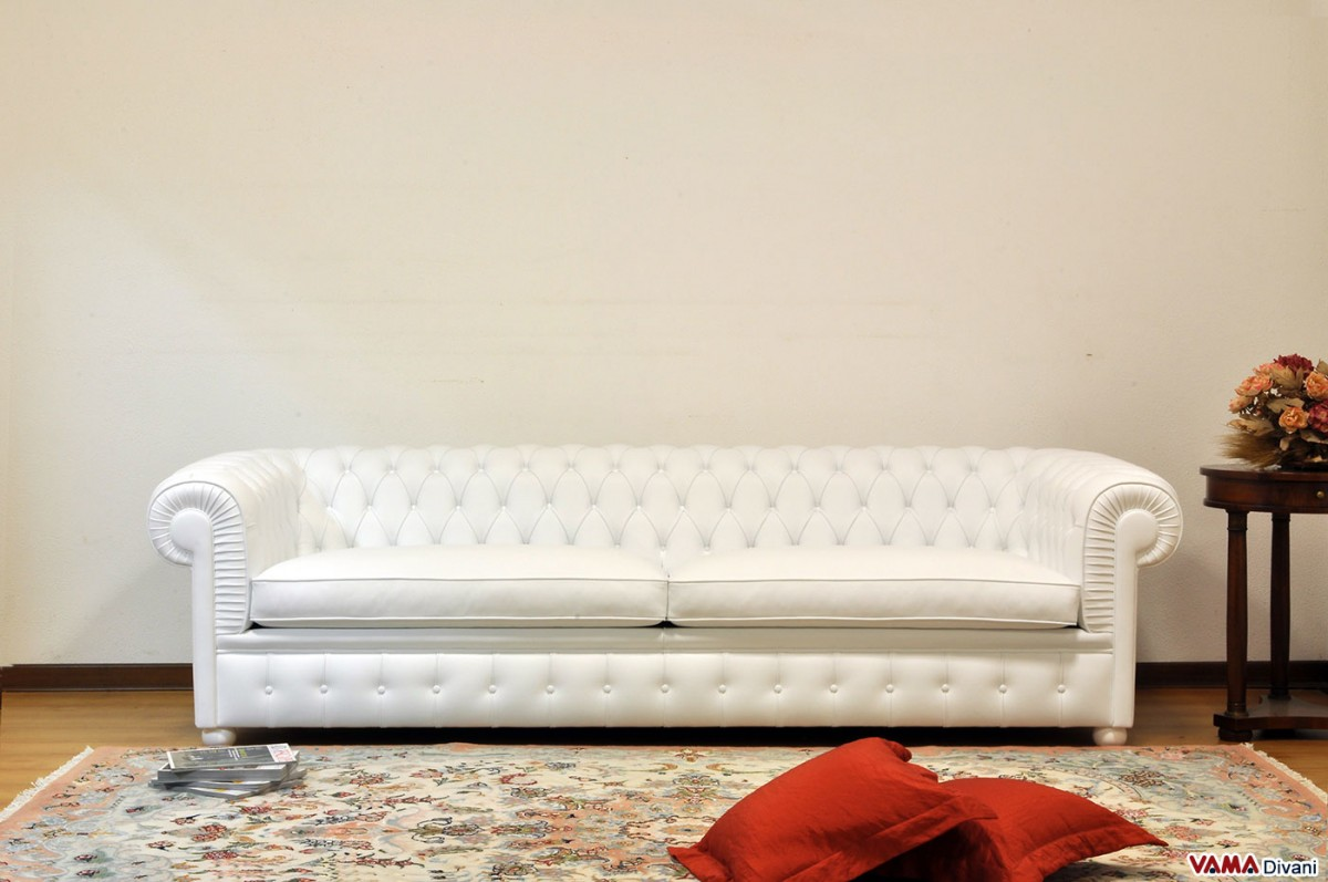 Chesterone sofa Deeper Chesterfield white sofa