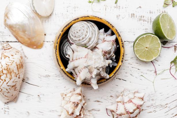 mesa decorada para servir peixes e frutos do mar