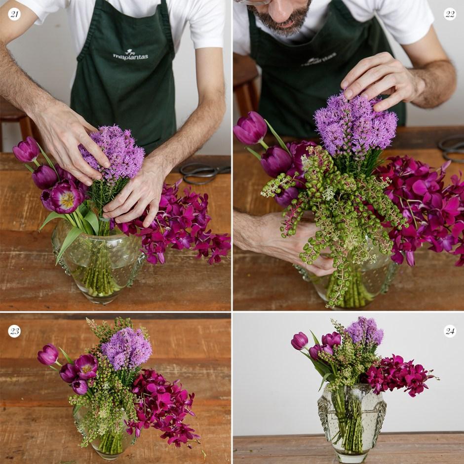 arranjo de flores passo a passo com Milplantas