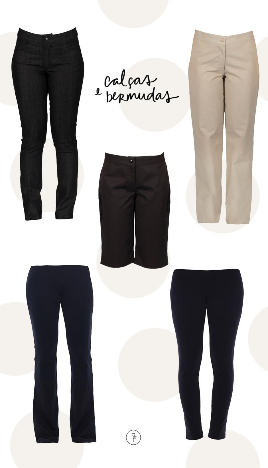 uniformes para casa calcas e bermudas