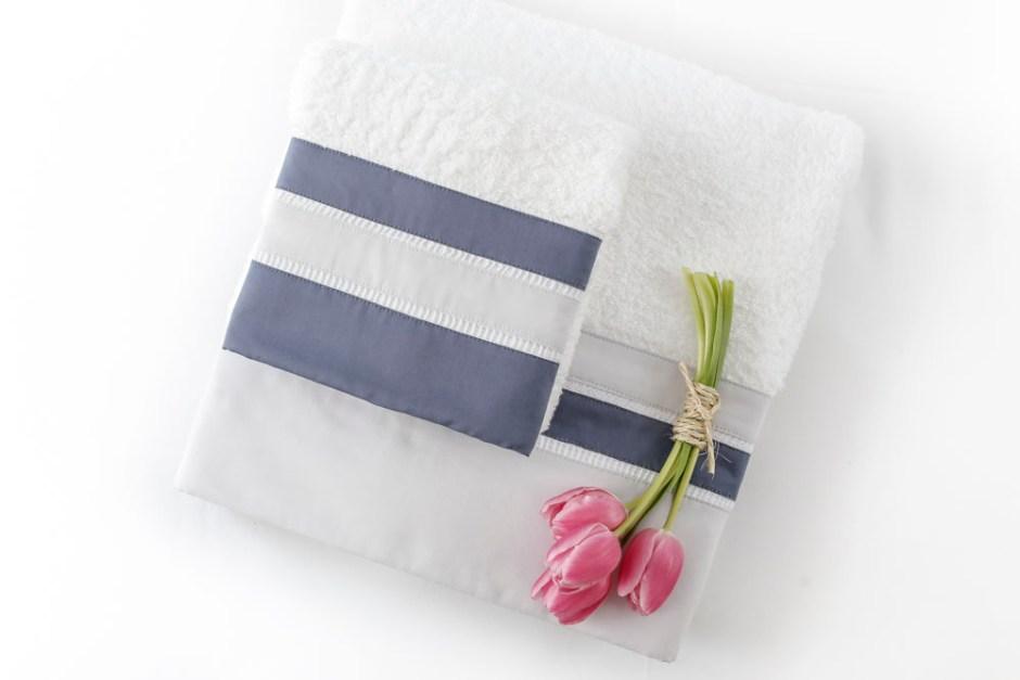 conjunto de toalha valencien azul e branco