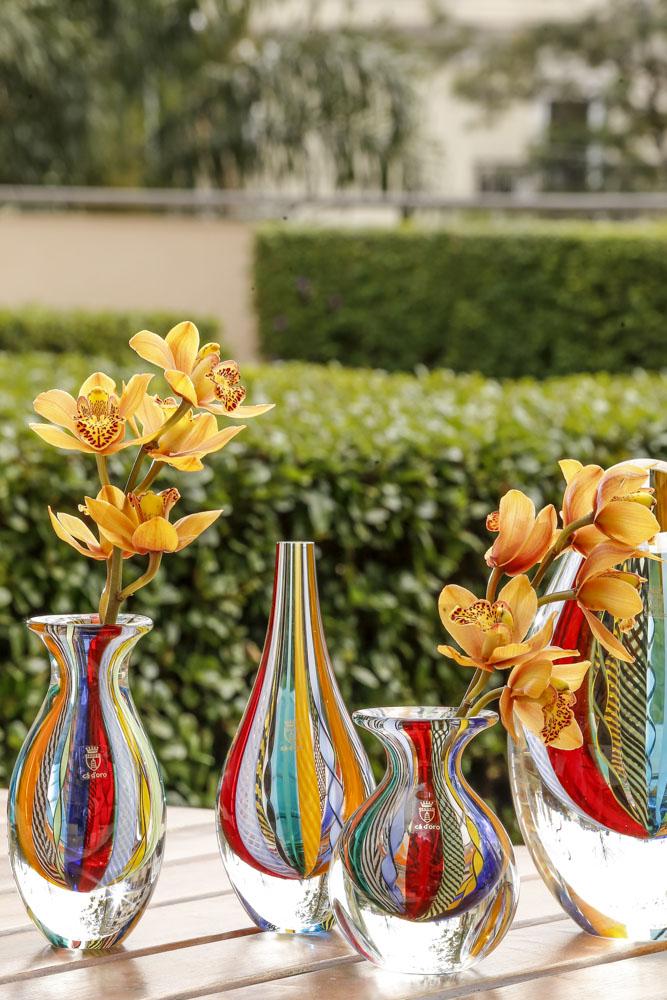 vasos coloridos de cristal Cristais Cá d'Oro
