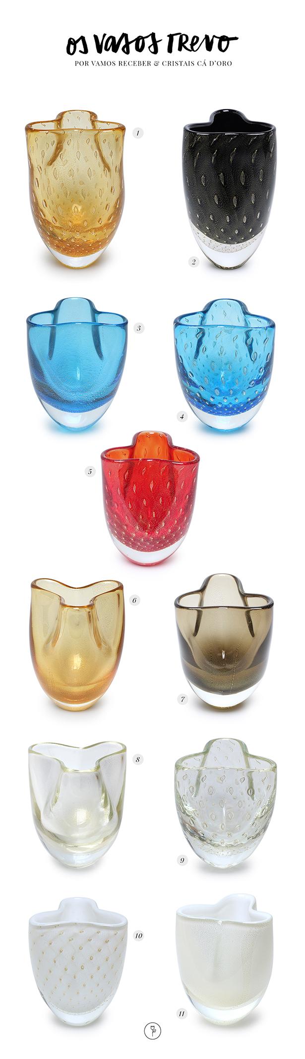 vasos de cristal trevo