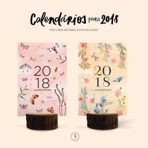 calendário estúdio papel com estampa floral e de borboleta