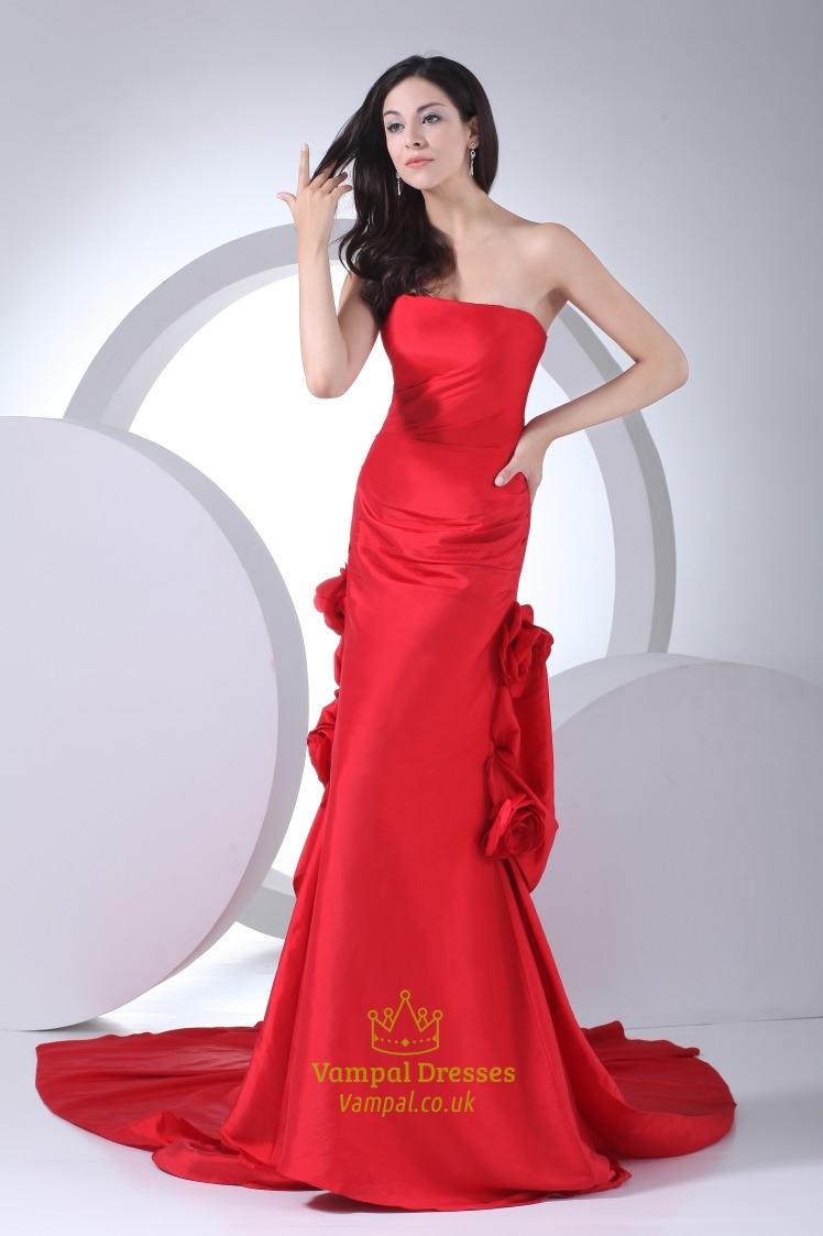 b46ce2ffa6 √ Red Taffeta Corsage Prom Dress