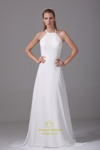 Ivory Empire Waist Chiffon Wedding Dress, Long Chiffon ...